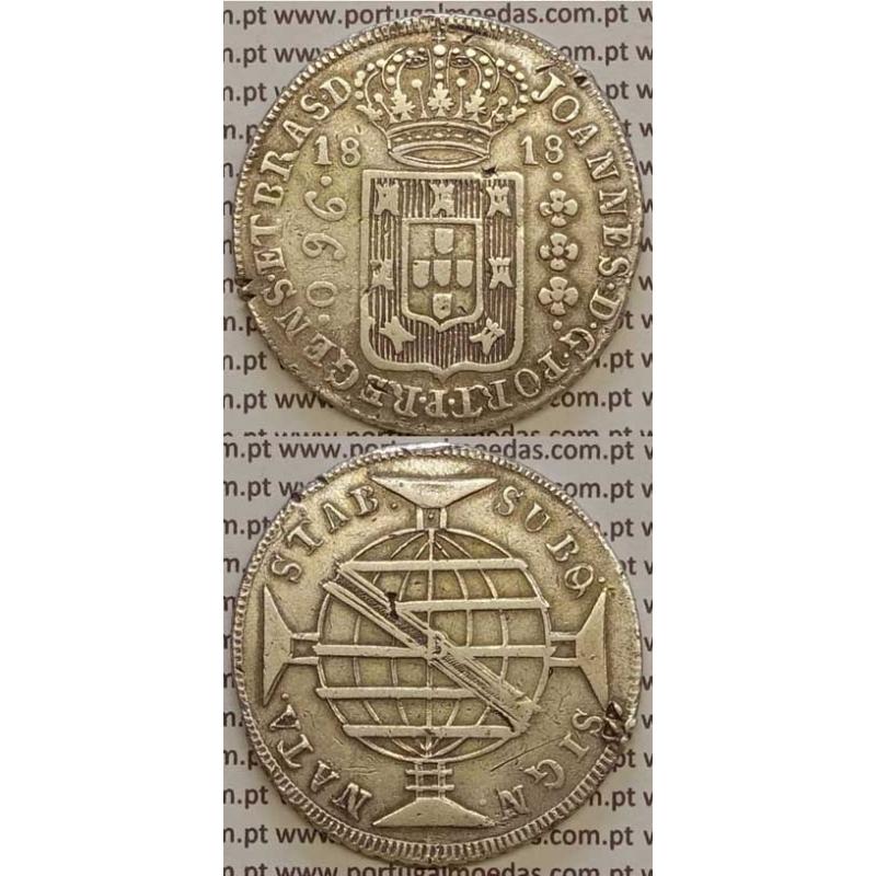 """960 REIS (PATACÃO) PRATA 1818 (MBC) BRASIL """"B"""" BAHIA (FALSIFICAÇÃO DA ÉPOCA)"""