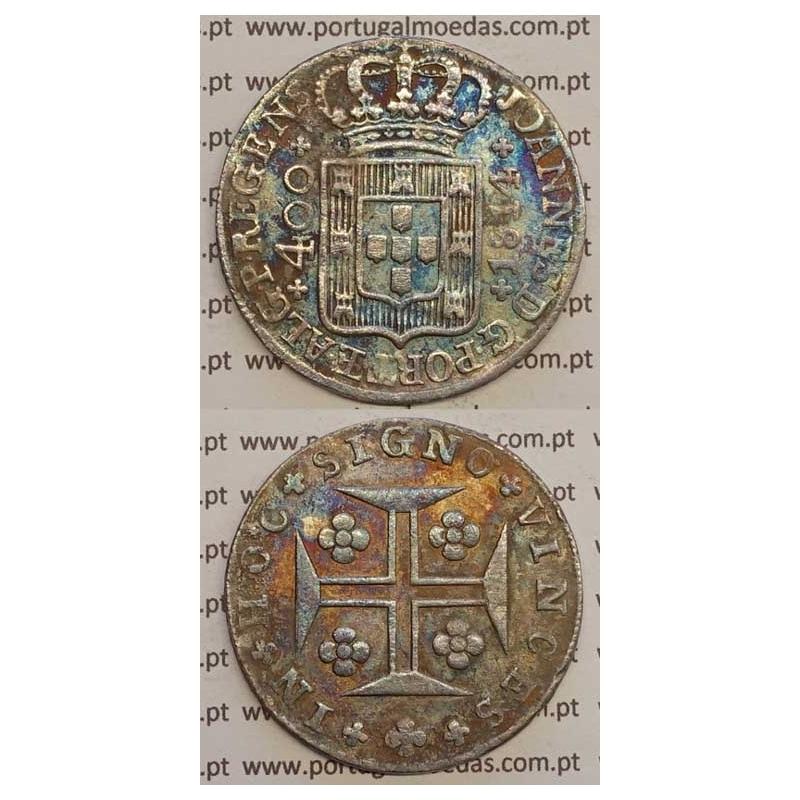 CRUZADO NOVO PRATA (480 RÉIS) 1814 (MBC) COROA BAIXA