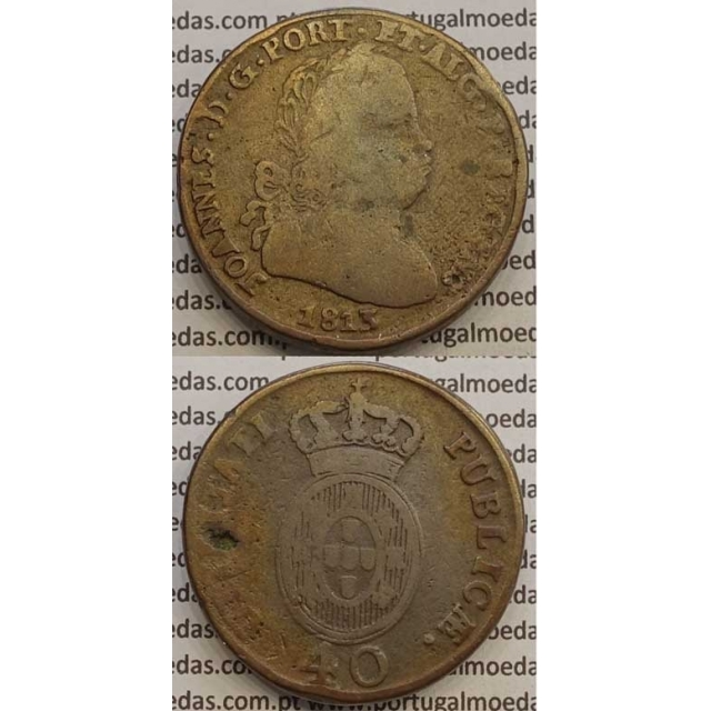 MOEDA PATACO (40 RÉIS) BRONZE 1813 (BC+) LEGENDA JUNTA