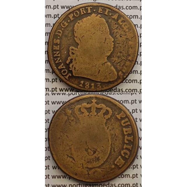 MOEDA PATACO (40 RÉIS) BRONZE 1813 (BC-) LEGENDA JUNTA