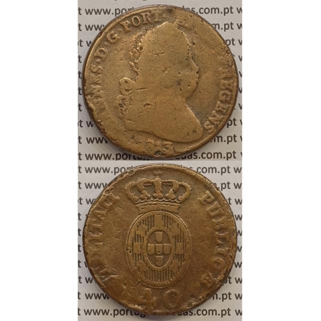 MOEDA PATACO (40 RÉIS) BRONZE 1813 (BC-) LEGENDA SEPARADA