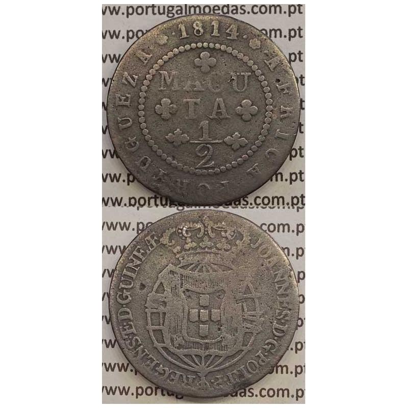 MOEDA 1/2 MACUTA COBRE 1814 (BC) - ANGOLA
