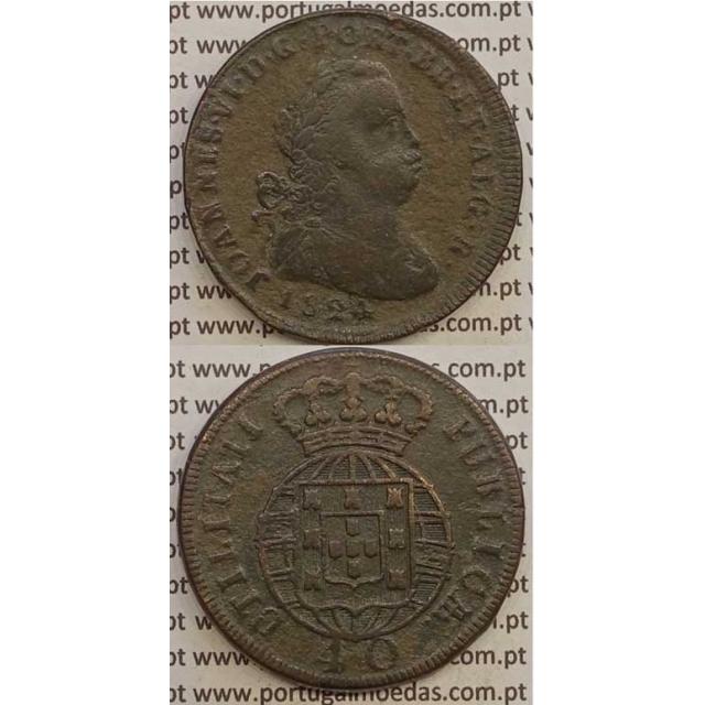 MOEDA PATACO (40 REIS) BRONZE 1824 (BC+) LEGENDA JUNTA / ESCUDOS + PEQUENOS