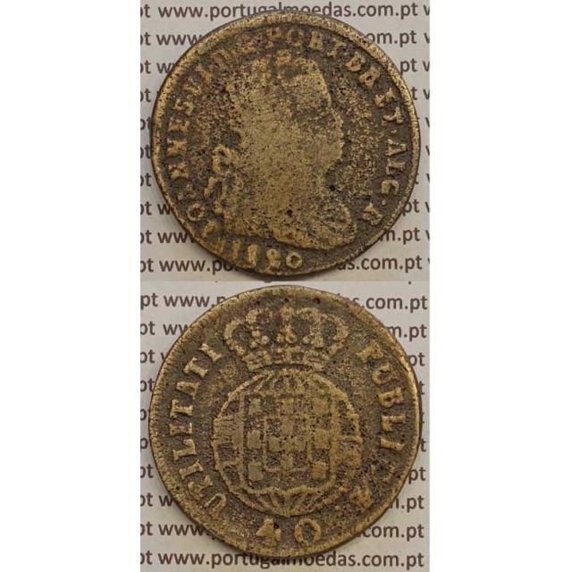 MOEDA PATACO (40 REIS) BRONZE 1820 (BC-) LEGENDA JUNTA / FALSA DA ÉPOCA (?)
