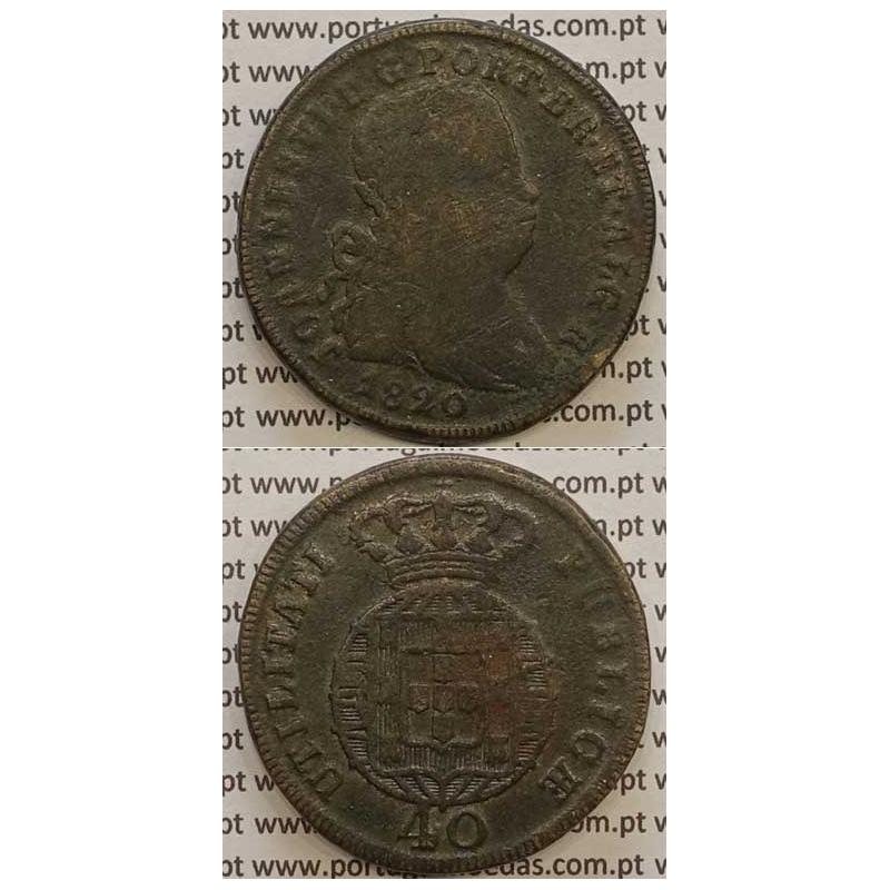 MOEDA PATACO (40 RÉIS) BRONZE 1820 (BC) LEGENDA JUNTA