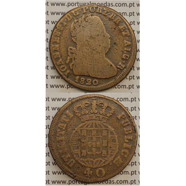 MOEDA PATACO (40 RÉIS) BRONZE 1820 (BC) LEGENDA JUNTA / CRUZ IRRADIADA