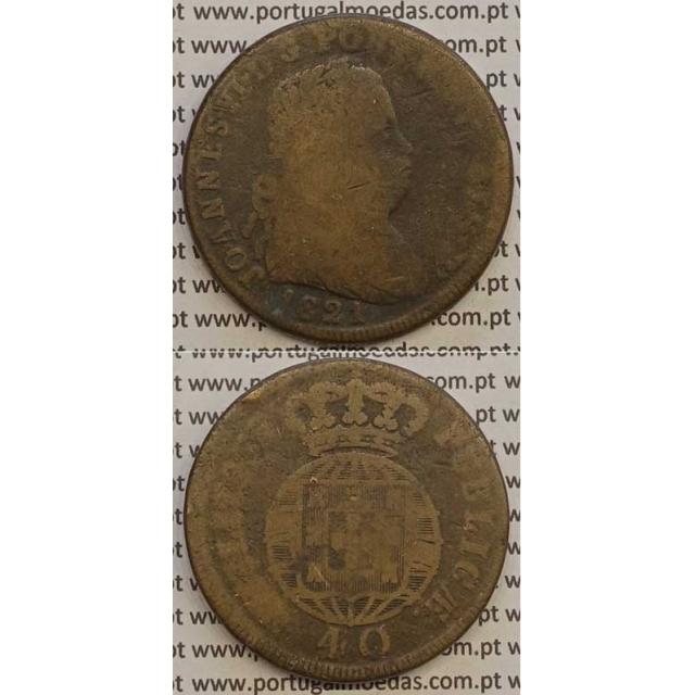 MOEDA PATACO (40 RÉIS) BRONZE 1821 (BC-) LEGENDA JUNTA