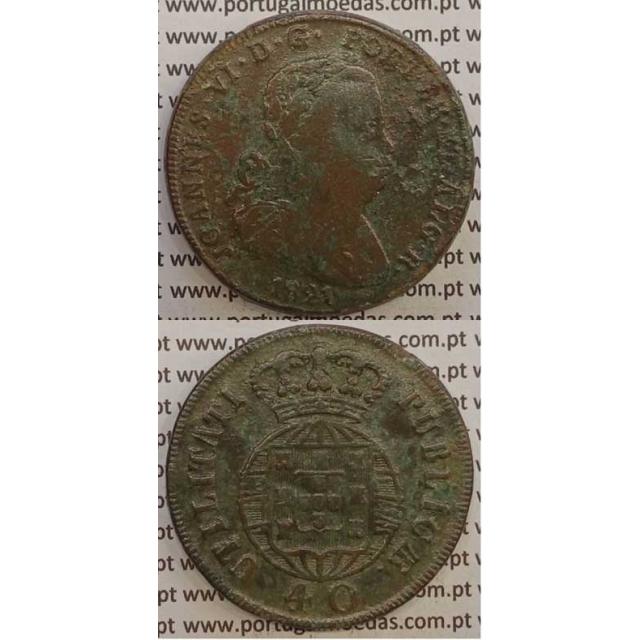 MOEDA PATACO (40 RÉIS) BRONZE 1821 (BC) LEGENDA SEPARADA/CRUZ IRRADIADA