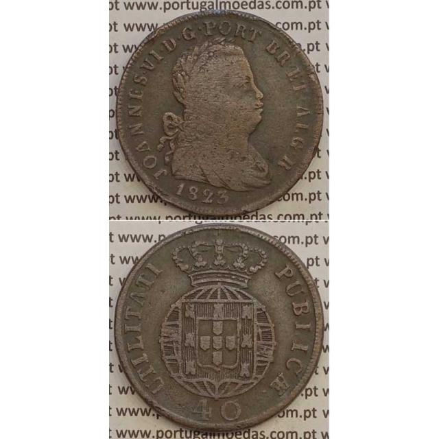 MOEDA PATACO (40 RÉIS) BRONZE 1823 (BC+) LEGENDA JUNTA