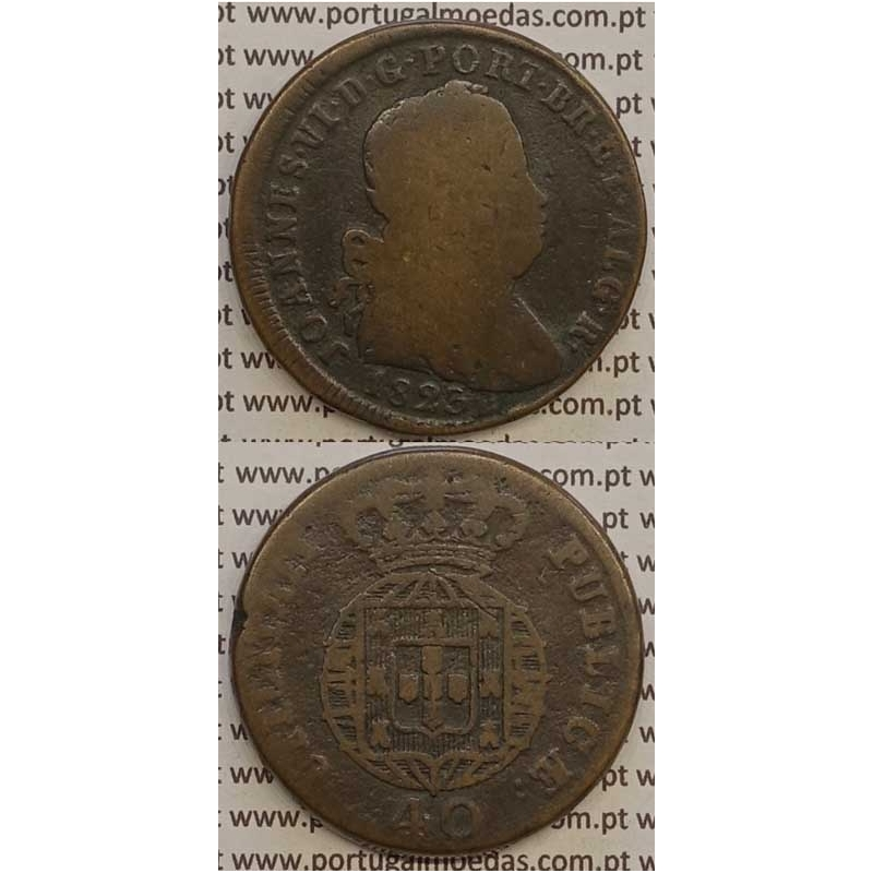 MOEDA PATACO (40 RÉIS) BRONZE 1823 (BC-) LEGENDA JUNTA