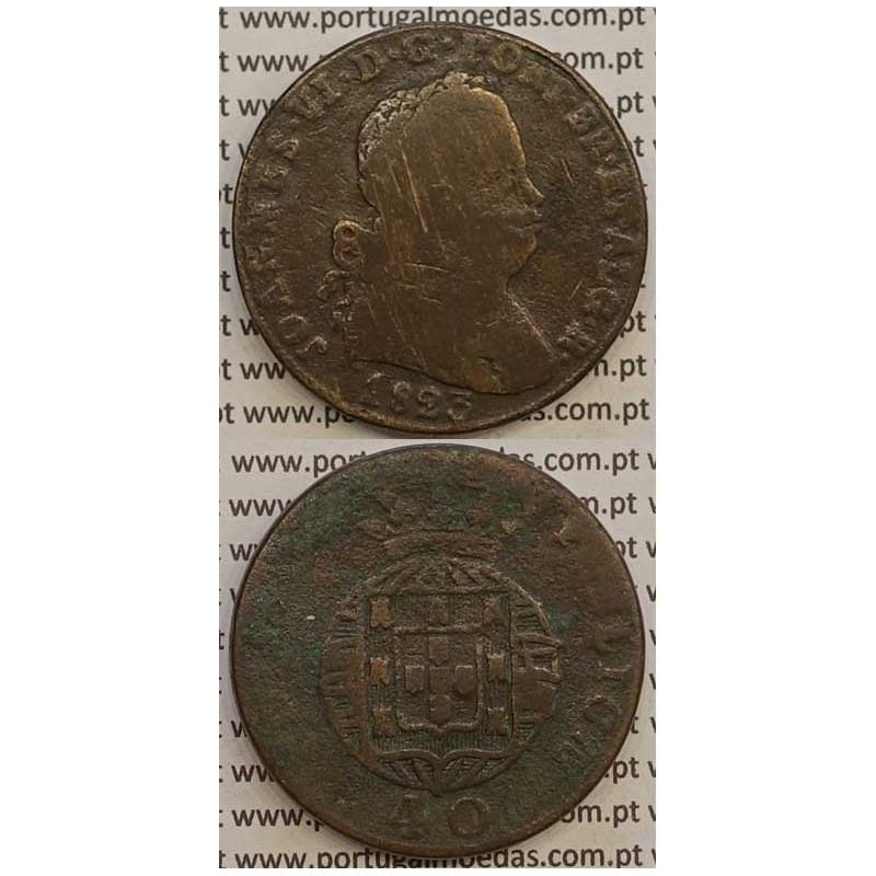 MOEDA PATACO (40 RÉIS) BRONZE 1823 (BC-/REG) LEGENDA JUNTA