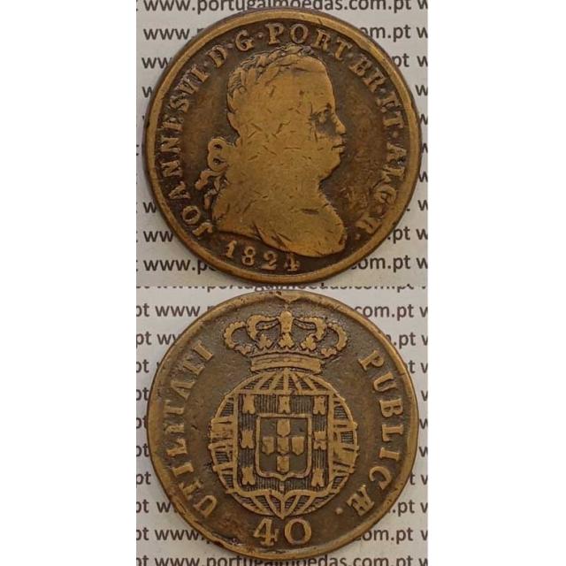 MOEDA PATACO (40 RÉIS) BRONZE 1824 (BC) LEGENDA JUNTA