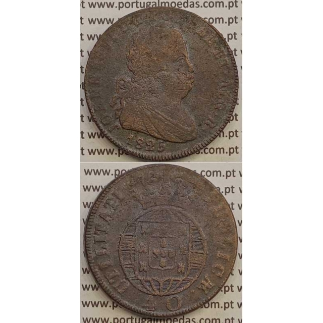 MOEDA PATACO (40 RÉIS) BRONZE 1825 (BC+) LEGENDA JUNTA