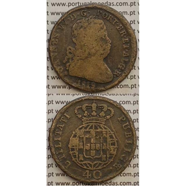 MOEDA PATACO (40 RÉIS) BRONZE 1819 (BC) LEGENDA SEPARADA/PONTO NO FINAL DA LEGENDA