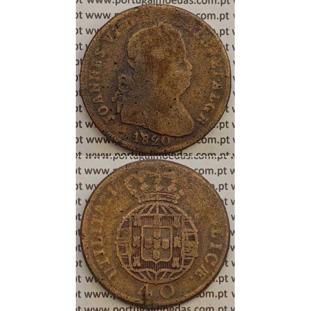MOEDA PATACO (40 RÉIS) BRONZE 1820 (BC-) LEGENDA SEPARADA