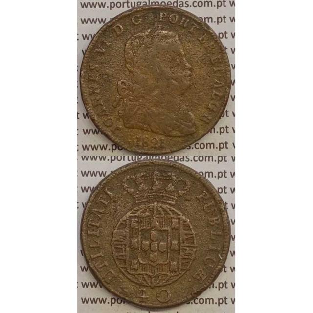 MOEDA PATACO (40 RÉIS) BRONZE 1821 (BC+) LEGENDA SEPARADA