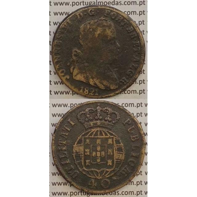 MOEDA PATACO (40 RÉIS) BRONZE 1821 (BC) LEGENDA SEPARADA