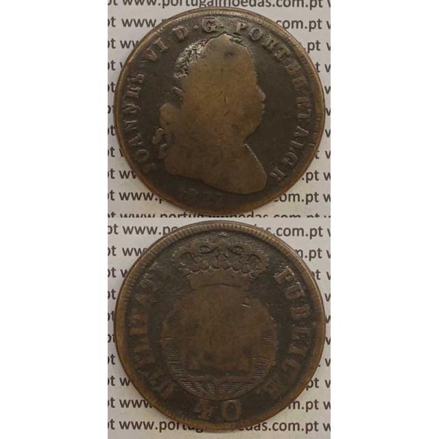 MOEDA PATACO (40 RÉIS) BRONZE 1822 (BC-) LEGENDA SEPARADA
