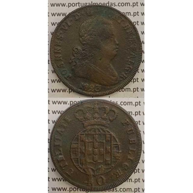 MOEDA PATACO (40 RÉIS) BRONZE 1823 (MBC+/BELA) LEGENDA SEPARADA