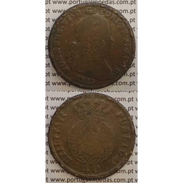 MOEDA PATACO (40 RÉIS) BRONZE 1823 (BC-) LEGENDA SEPARADA