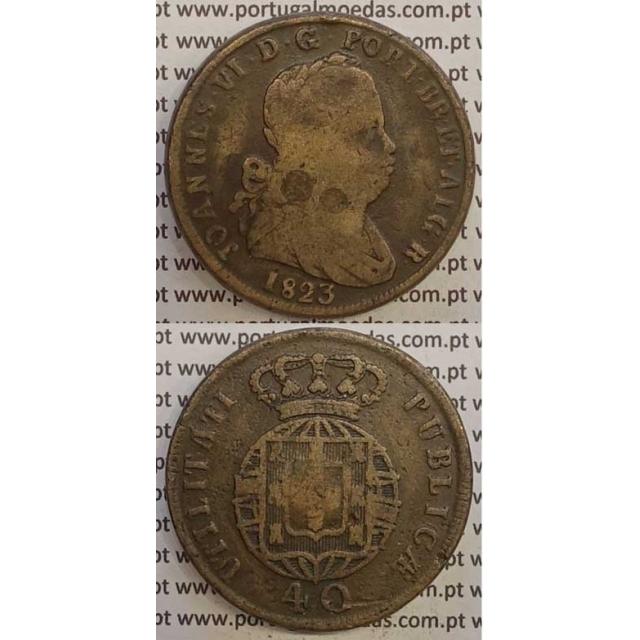 MOEDA PATACO (40 RÉIS) BRONZE 1823 (BC) LEGENDA SEPARADA