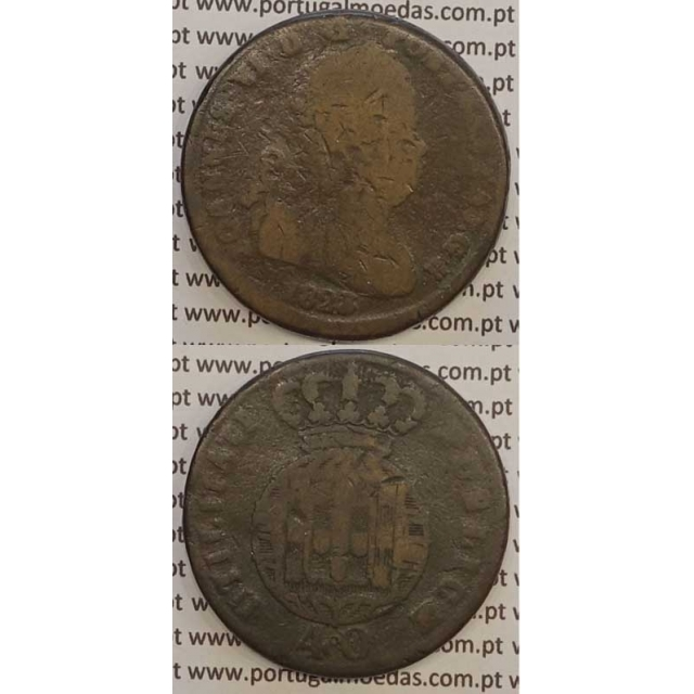MOEDA PATACO (40 RÉIS) BRONZE 1823 (BC-) LEGENDA SEPARADA / LETRAS MENORES
