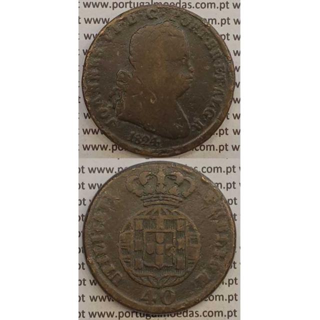 MOEDA PATACO (40 RÉIS) BRONZE 1824 (BC) LEGENDA SEPARADA / ESFERA ARMILAR MAIS PEQUENA