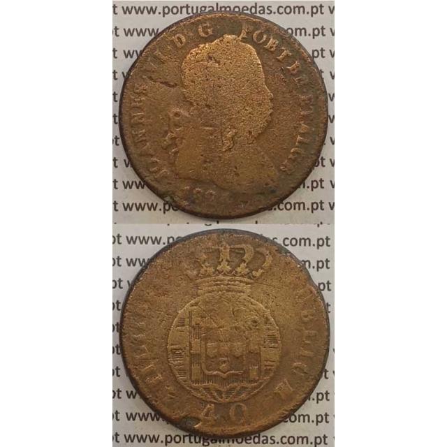 MOEDA PATACO (40 RÉIS) BRONZE 1824 (BC-) LEGENDA SEPARADA / ESFERA ARMILAR MAIS PEQUENA