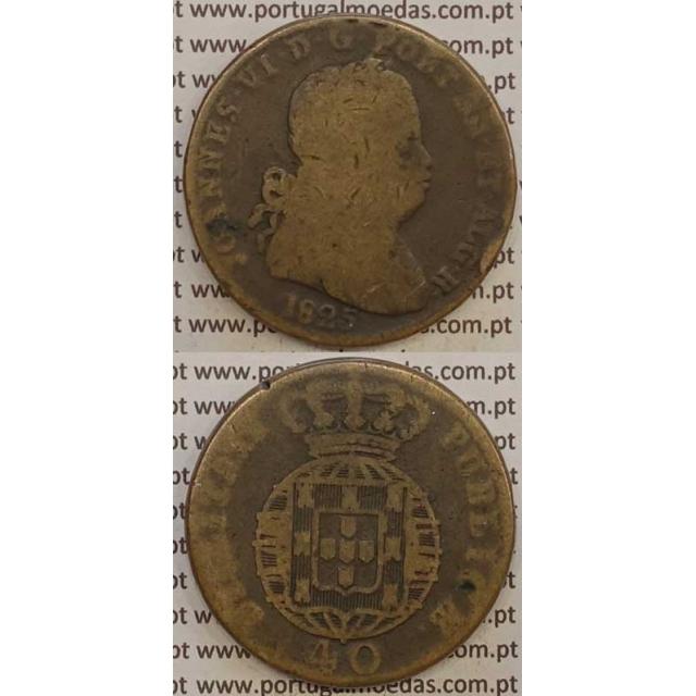 MOEDA PATACO (40 RÉIS) BRONZE 1825 (BC) LEGENDA SEPARADA