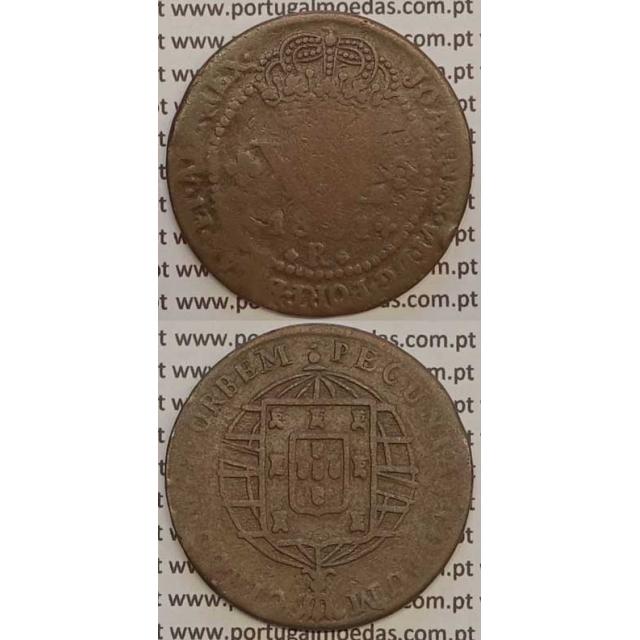 """MOEDA XL RÉIS COBRE 1821 (BC-) BRASIL- """"R"""" RIO DE JANEIRO"""