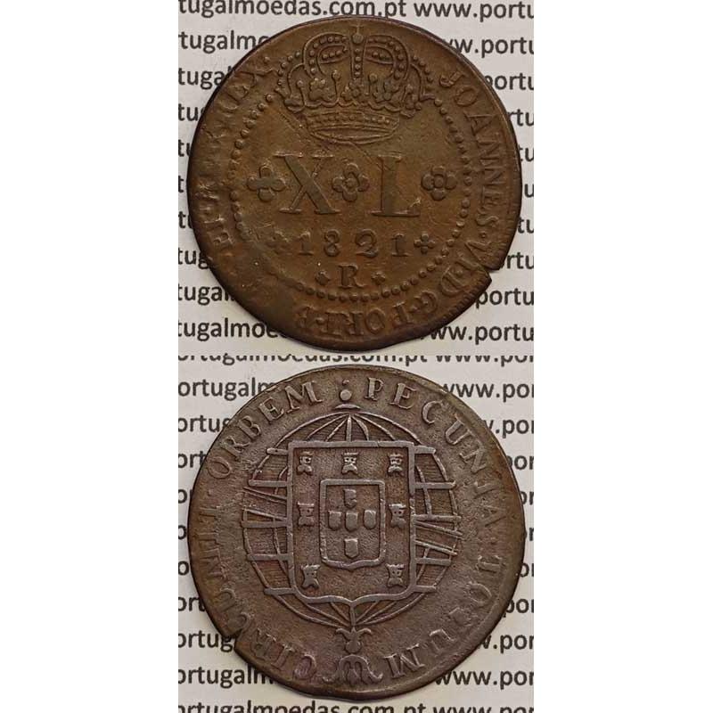"""MOEDA XL RÉIS COBRE 1821 (MBC) BRASIL - """"R"""" RIO DE JANEIRO"""