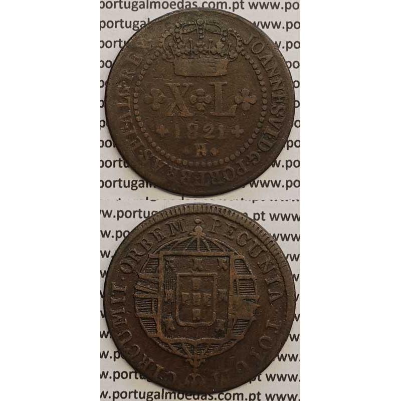 """MOEDA XL RÉIS COBRE 1821 (BC+) BRASIL- """"R"""" RIO DE JANEIRO"""