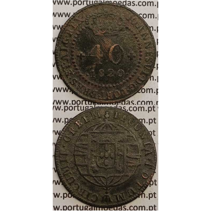 """MOEDA 40 RÉIS COBRE 1820 (BC+) MOÇAMBIQUE """"46 PEROLAS"""""""