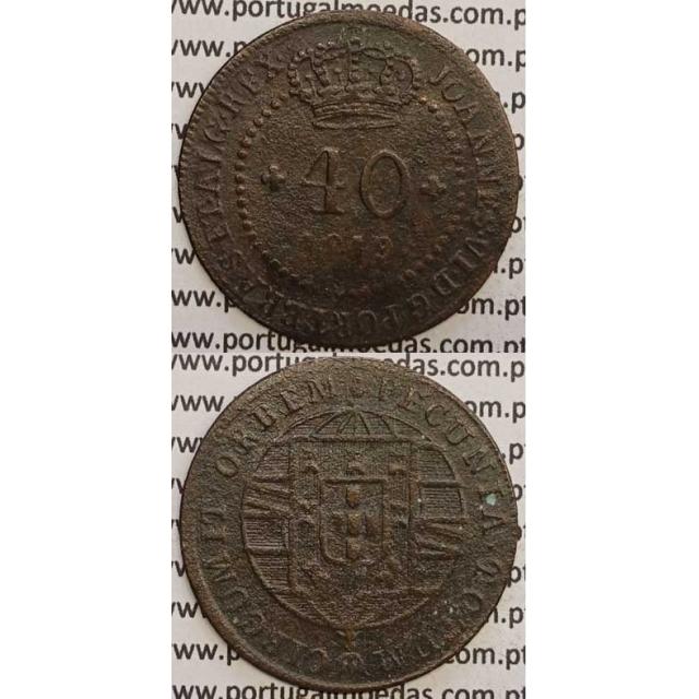 """MOEDA 40 RÉIS COBRE 1819 (BC+) S.TOMÉ E PRINCIPE """"46 PEROLAS"""""""