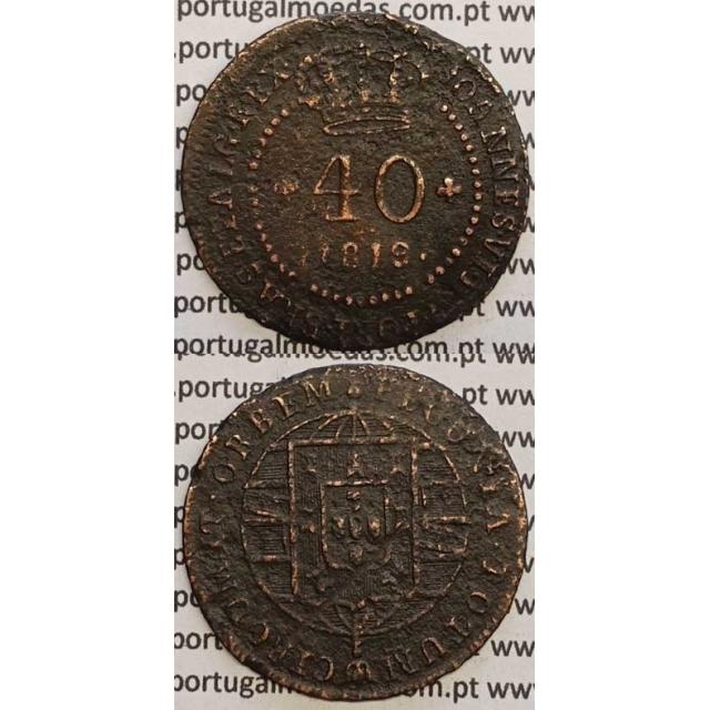 """MOEDA 40 RÉIS COBRE 1819 (BC) S.TOMÉ E PRINCIPE """"46 PEROLAS"""""""