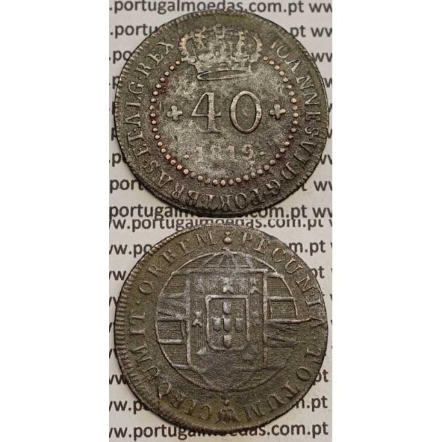 """MOEDA 40 RÉIS COBRE 1819 (BC) S.TOMÉ E PRÍNCIPE """"46 PEROLAS"""""""