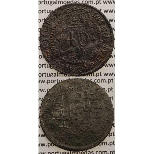 """MOEDA 40 RÉIS COBRE 1819 (BC) S.TOMÉ E PRÍNCIPE """"47 PEROLAS"""""""
