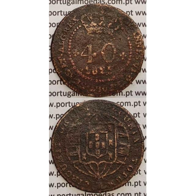 """MOEDA 40 RÉIS COBRE 1825 (REG) S.TOMÉ E PRÍNCIPE """"50 PEROLAS"""""""