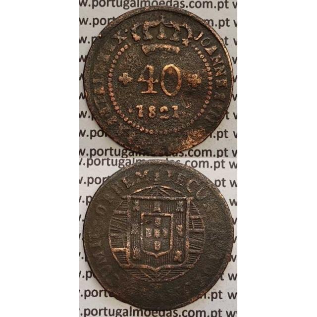 """MOEDA 40 RÉIS COBRE 1821 (BC) S.TOMÉ E PRÍNCIPE """"52 PEROLAS"""""""