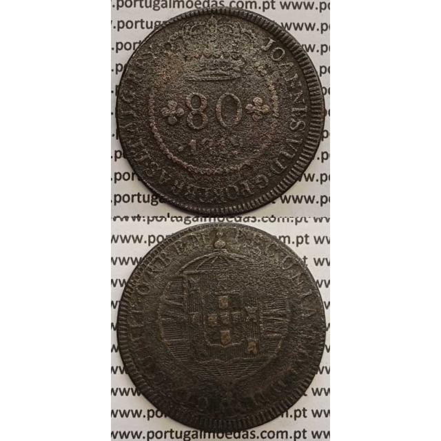 """MOEDA 80 RÉIS COBRE 1819 (BC) S.TOMÉ E PRÍNCIPE """"53 PEROLAS"""""""