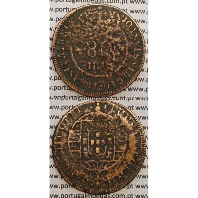 """MOEDA 80 RÉIS COBRE 1819 (REG) S.TOMÉ E PRÍNCIPE """"53 PEROLAS"""""""