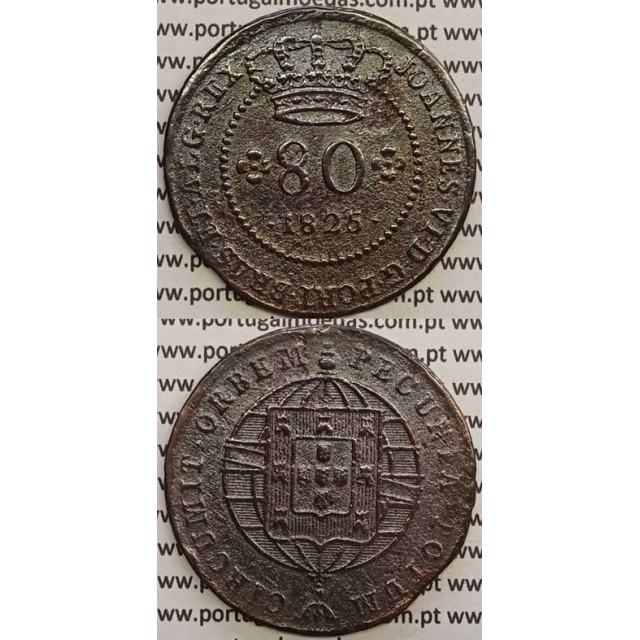 """MOEDA 80 RÉIS COBRE 1825 (MBC-) S.TOMÉ E PRÍNCIPE """"55 PEROLAS"""""""