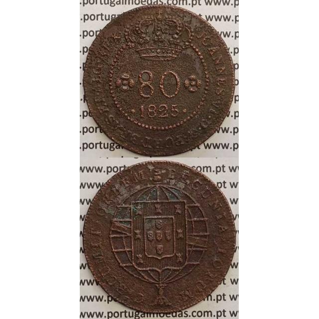 """MOEDA 80 RÉIS COBRE 1825 (MBC-) S.TOMÉ E PRÍNCIPE """"58 PEROLAS"""""""