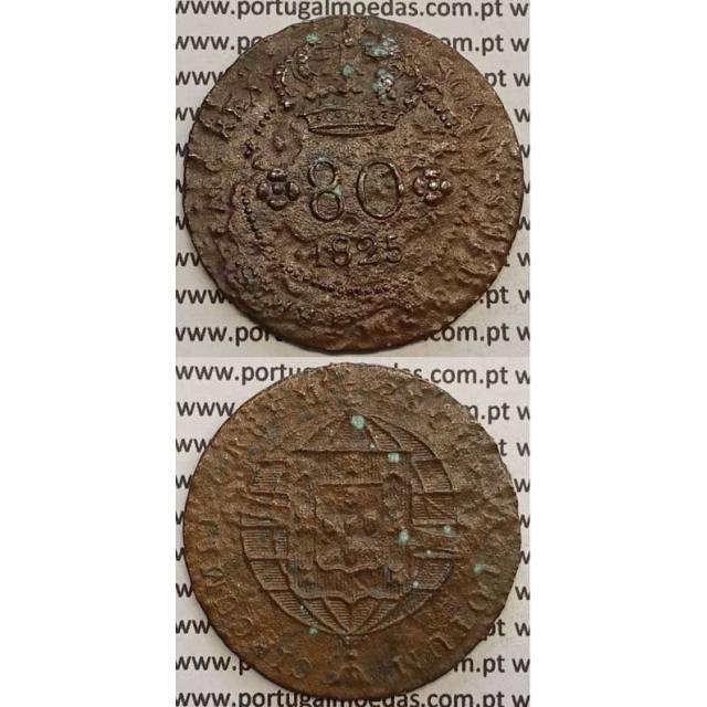 """MOEDA 80 RÉIS COBRE 1825 (BC) S.TOMÉ E PRÍNCIPE """"58 PEROLAS"""""""