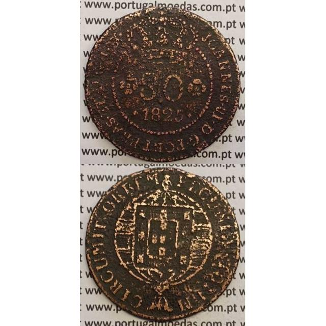 """MOEDA 80 RÉIS COBRE 1825 (BC) S.TOMÉ E PRÍNCIPE """"65 PEROLAS"""""""