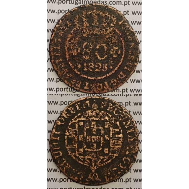 """MOEDA 80 RÉIS COBRE 1825 (BC-/REG) S.TOMÉ E PRÍNCIPE """"65 PEROLAS"""""""