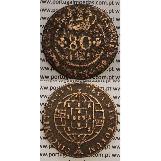 """MOEDA 80 RÉIS COBRE 1825 (BC-) S.TOMÉ E PRÍNCIPE """""""