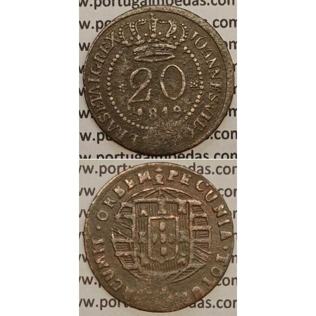 """MOEDA 20 RÉIS COBRE 1819 (BC) - """"47 PEROLAS"""" SÃO TOMÉ E PRINCIPE - D.JOÃO VI"""