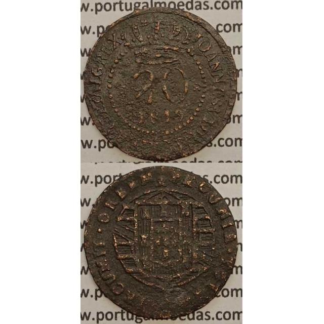 """MOEDA 20 RÉIS COBRE 1819 (BC-) - """"47 PEROLAS"""" SÃO TOMÉ E PRINCIPE - D.JOÃO VI"""