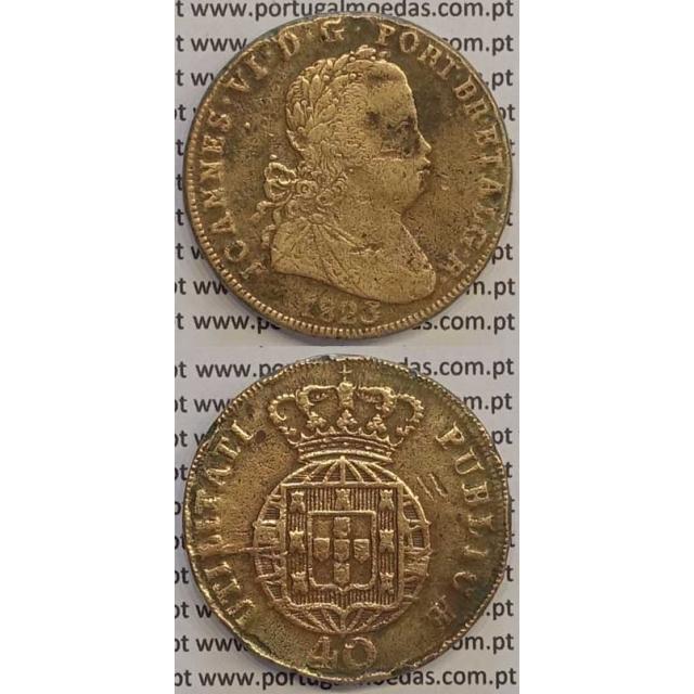 MOEDA PATACO (40 RÉIS) BRONZE 1823 (BC+) LEGENDA SEPARADA